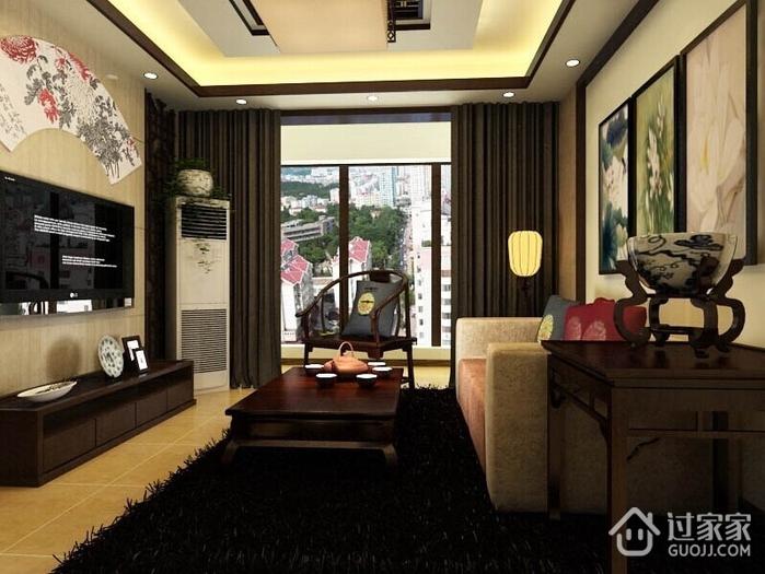 豪华浓郁新中式古典家居客厅吊顶设计