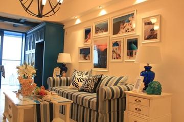 89平地中海样板房欣赏客厅照片墙