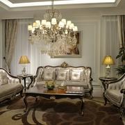 法式风三居住宅欣赏客厅灯饰
