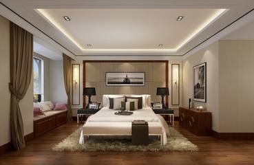 沉稳现代风四居室欣赏卧室效果