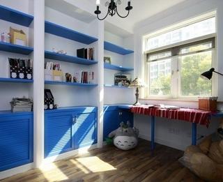 110平蓝色地中海住宅欣赏书房设计