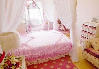 79平粉嫩田园住宅欣赏卧室窗帘