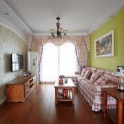 美式乡村二居室 客厅灯饰装修效果图