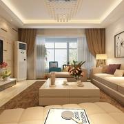 精致现代三居室 客厅窗帘装饰效果图