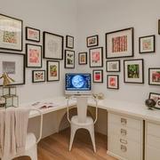 现代住宅效果图书房照片墙