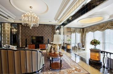 欧式效果设计客厅电视背景墙