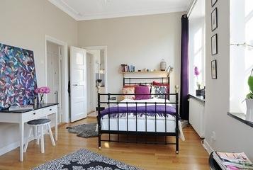 白色北欧两居室住宅欣赏卧室吊顶