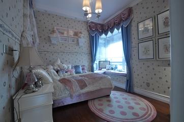 新古典混搭风儿童房粉色圆形地毯