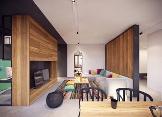 现代感十足 客厅隔断设计效果图