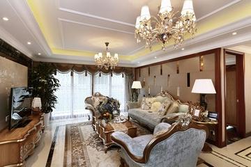 87平贵气美式三居室欣赏客厅吊顶