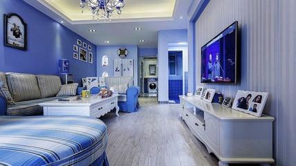 112平蓝色地中海住宅欣赏客厅摆件