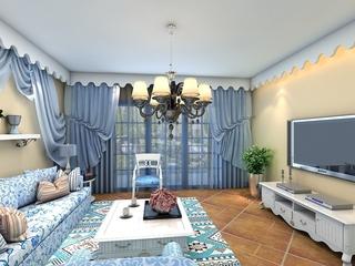 蓝色地中海家居案例欣赏客厅窗帘设计