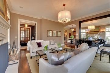 美式别墅简约客厅装修设计效果图