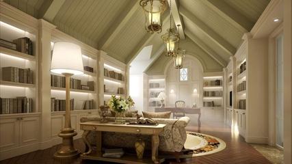 欧式奢华三居室欣赏书房书架