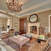 美式别墅简约客厅装饰设计效果图