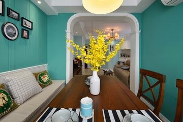 78平绿色美式住宅欣赏餐厅效果