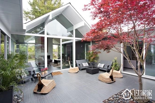 现代开放舒适别墅欣赏庭院