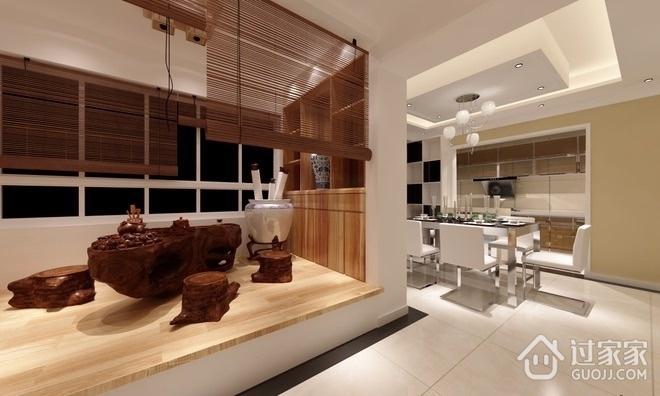 自然木色家居 现代客厅飘窗装修效果图