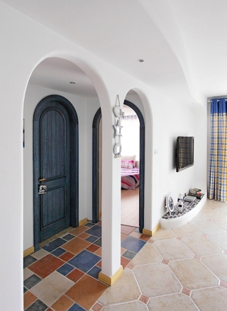 白色地中海两居室欣赏客厅吊顶