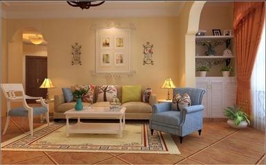 90平田园风住宅欣赏客厅背景墙