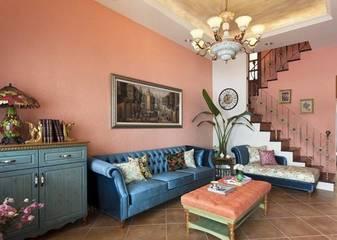 160平四居室地中海风 鹅卵石电视背景墙恰到好处