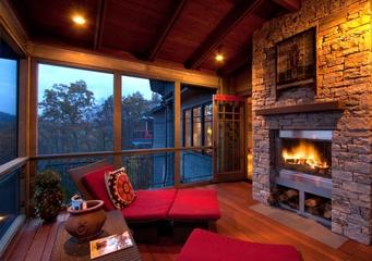 美式风格室内装饰图露台壁炉