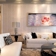 优雅新古典客厅背景墙挂画