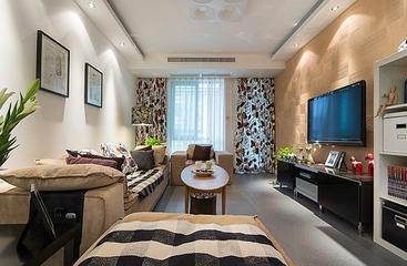 温馨宜家风 客厅花色窗帘效果图
