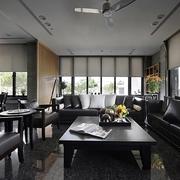 现代黑白搭配效果图客厅全景