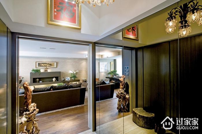 浓郁新中式三居室欣赏玄关背景墙设计
