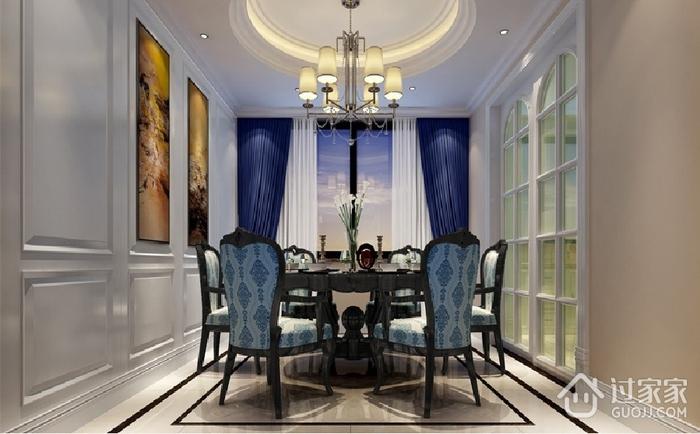 83平蓝色欧式三居室装修效果图