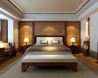 新中式卧室木质背景墙装饰图 高贵典雅