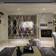 优雅新古典客厅花纹玻璃门