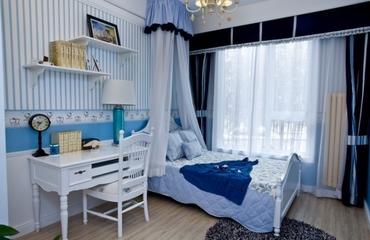 白色地中海三居欣赏卧室窗帘