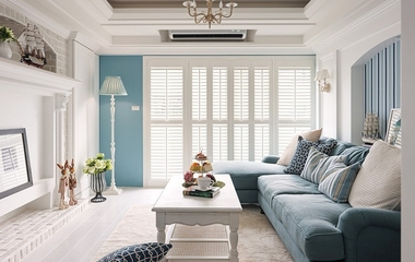 美式田园客厅蓝色沙发欣赏