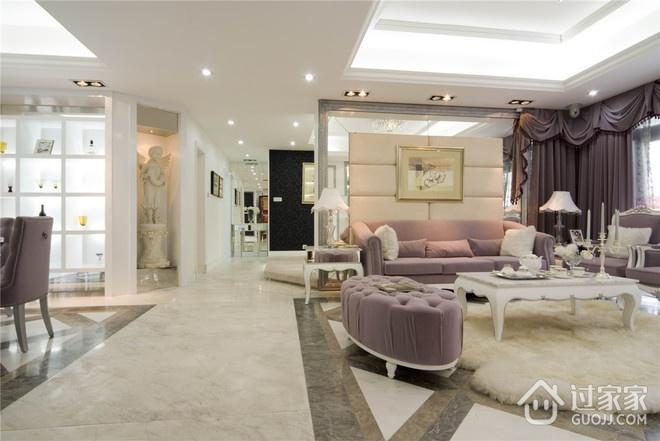 124平欧式三居室欣赏过道吊顶设计