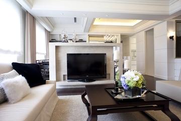 新古典三居室样板房案例欣赏客厅背景墙设计