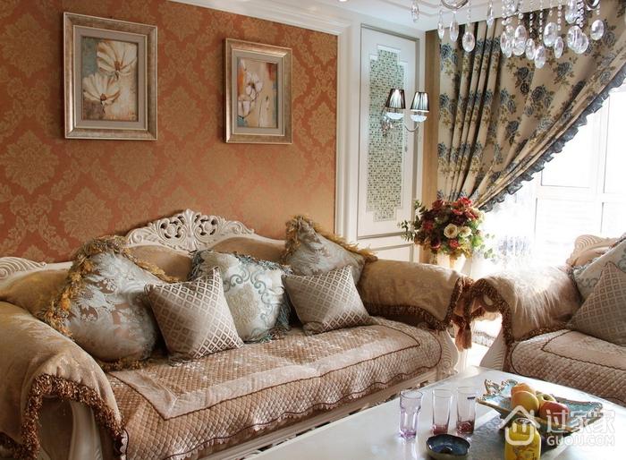 精美客厅沙发摆放效果图 唯美浪漫简欧家居