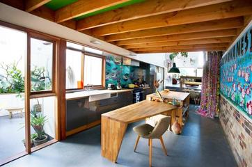 缤纷色彩混搭风格住宅厨房