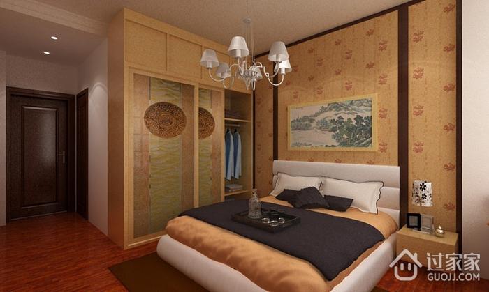 100平简约三室两厅案例欣赏卧室衣柜