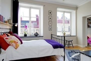 白色北欧两居室住宅欣赏卧室窗户设计