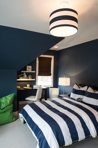 白色北欧158平别墅欣赏卧室效果