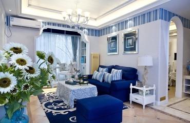 白色地中海三居欣赏客厅吊顶设计