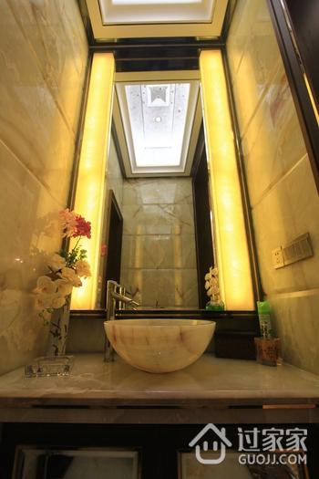 110平简欧三居室案例欣赏洗手间背景墙