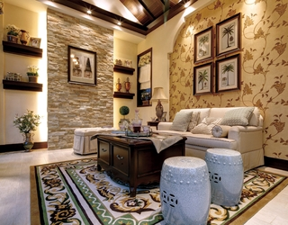 美式风格住宅装修效果设计家庭厅