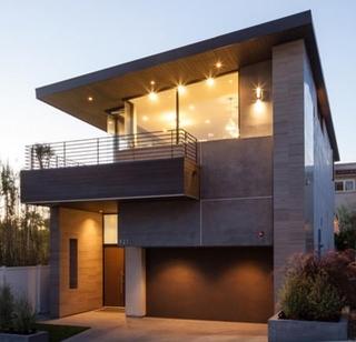 现代风格装饰别墅样板房效果夜景