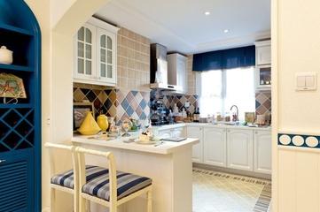 蓝白地中海住宅欣赏厨房