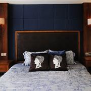卧室深蓝色软包背景墙效果图
