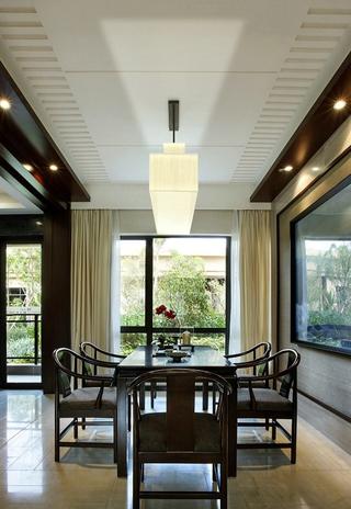 高贵奢华 新中式餐厅吊顶效果图