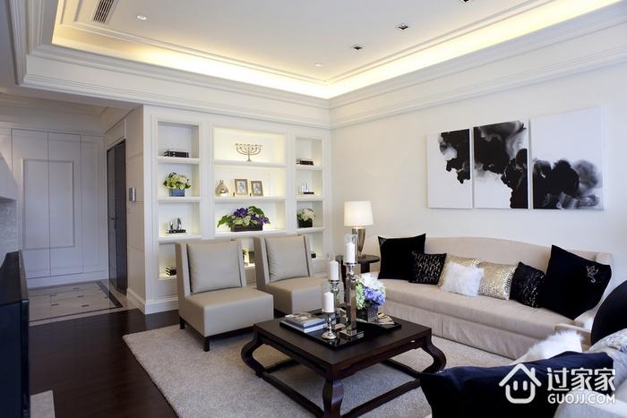 89平白色现代美居欣赏客厅全景
